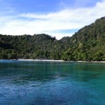 Gapang Beach from a boat